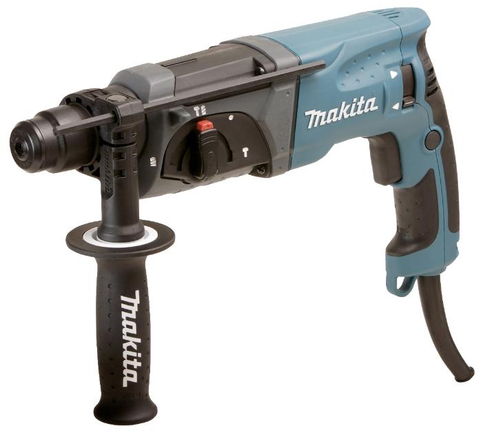 Перфоратор Makita HR2470Перфораторы<br><br><br>Тип крепления бура: SDS-Plus<br>Потребляемая мощность: 780 Вт<br>Макс. энергия удара: 2.4 Дж<br>Макс. диаметр сверления (дерево): 32 мм<br>Макс. диаметр сверления (металл): 13 мм<br>Макс. диаметр сверления (бетон): 24 мм<br>Макс. диаметр сверления (полой коронкой): 65 мм<br>Питание: от сети<br>Шуруповерт: есть<br>Возможности: реверс, предохранительная муфта, электронная регулировка частоты вращения