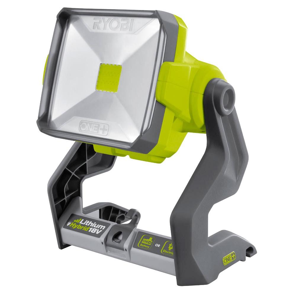 Фонарь Ryobi ONE+ R18ALH-0 (3002339)Фонари<br>Прожектор Ryobi Гибрид ONE&amp;#43; R18ALH-0 может работать как от аккумулятора 18 В, так и от сети 220В. Прочный осветительный прибор на устойчивой опоре может вращаться на 360° благодаря рефлектору, что позволяет направлять луч в нужном направление на освещаемые предметы. Дальность освещения - 8 метров. Изделие обладает прочным и надежным корпусом. Эффективный и яркий светодиод остается холодным, обеспечивая тем самым срок службы до 5000 часов.<br><br>Система Ryobi One&amp;#43; позволяет использовать всего один блок питания для целого арсенала аккумуляторного инструмента. Интеллектуальная...<br><br>Источник света: светодиоды<br>Вес: 1.9 кг