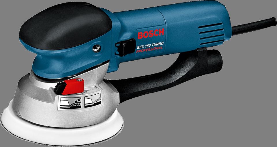 Эксцентриковая шлифмашина Bosch GEX 150 Turbo [0601250788]Шлифовальные и заточные машины<br><br><br>Размер хода платформы, мм: 4.5<br>Длина листа/ленты, мм: 150