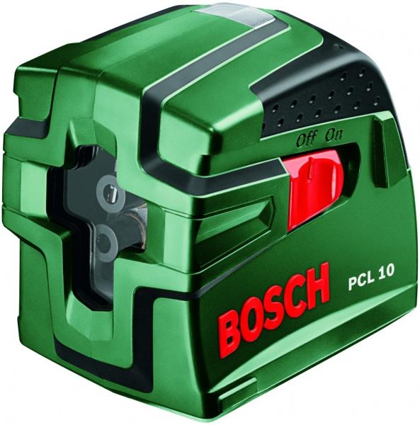 Лазерный нивелир Bosch PCL 10 [0603008120]Измерительные инструменты<br>Перекрёстные линии — быстро и точно<br><br>Потребительские преимущества<br>- Автоматическое нивелирование всего за несколько секунд — точная и быстрая работа без необходимости ручного выравнивания<br>- Высококачественные, яркие лазерные светодиоды генерируют хорошо видимые лучи<br>- Широкий рабочий диапазон до 10 м<br><br>Дополнительные преимущества<br>- Простое и интуитивное управление<br>- Встроенная резьба ? подходит для всех распространенных моделей штативов<br>- Рукоятка с мягкой накладкой для более надёжного и удобного захвата<br>- В комплект входят защитный чехол...<br>