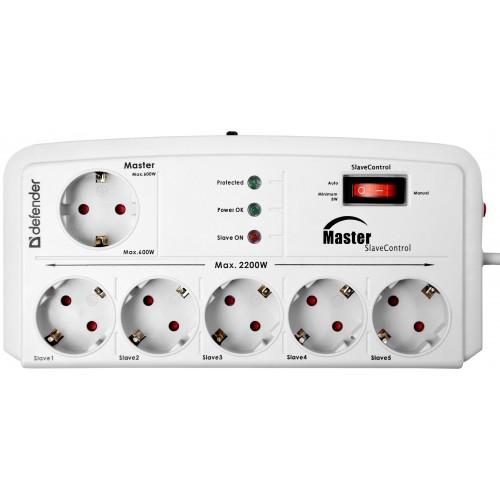 Сетевой фильтр DEFENDER DFS 805 6 розеток, 5.0 мСетевые фильтры<br>Надежная защита от перегрузки по току, короткого замыкания, ВЧ и импульсных помех.<br> <br>Функция Master/Slave - включение и выключение периферии одновременно с компьютером. Подключите компьютер к управляющей розетке Master, а периферию - к розеткам Slave. Включите компьютер, и питание автоматически будет подаваться на розетки, к которым подключена периферия; выключите - подача питания прекратится. Функция Master/Slave - опционная, включается и отключается одной кнопкой.<br> <br>Розетки с защитными шторками. Сетевой фильтр безопасно использовать в квартире с маленькими...<br><br>Номинальное напряжение, В/Гц: 220 В / 50-60<br>Максимальная суммарная мощность нагрузки, Вт:: 2200<br>Максимальный ток нагрузки, А: 10<br>Индикатор состояния защиты:: есть<br>Фильтр ВЧ помех: есть<br>Защита от перегрузки и короткого замыкания: отдельный автоматический несгораемый предохранитель<br>Длина шнура, м: 5.0