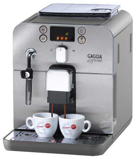 Кофемашина Gaggia Brera SilverКофеварки и кофемашины<br><br><br>Тип используемого кофе: Зерновой<br>Мощность, Вт: 1400<br>Объем, л: 1.2<br>Давление помпы, бар  : 15<br>Материал корпуса  : Металл<br>Встроенная кофемолка: Есть<br>Емкость контейнера для зерен, г  : 250<br>Одновременное приготовление двух чашек  : Есть<br>Контейнер для отходов  : Есть<br>Съемный лоток для сбора капель  : Есть