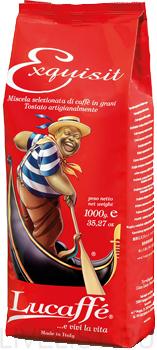 Кофе зерно LUCAFFE EXQUISIT 1 кгКофе, какао<br>Натуральный кофе высшего сорта. Превосходный вкус лучших сортов Арабики с небольшой, но интенсивной ноткой шоколадной Робусты. Арабика 90%, Робуста 10%<br><br>Тип: кофе в зернах<br>Обжарка кофе: средняя