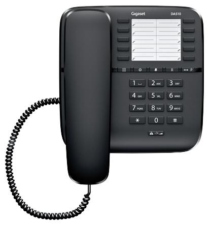 Проводной телефон Gigaset DA510 BlackПроводные телефоны<br><br><br>Тип: проводной телефон<br>Наборное поле на базе: есть<br>Разъем для гарнитуры: есть<br>Память (количество номеров): 20<br>Однокнопочный набор (количество кнопок): 10<br>Переадресация (Flash): нет<br>Повторный набор номера: есть<br>Тональный набор: есть<br>Блокировка набора номера: есть<br>Кнопка выключения микрофона: есть