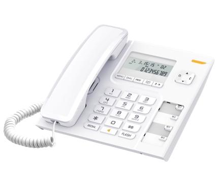 Проводной телефон Alcatel T56 WhiteПроводные телефоны<br>Alcatel T56 — проводной телефон с универсальными возможностями и современным дизайном. Телефон оснащен двухстрочным дисплеем, который обеспечивает пользователю текущую информацию о входящих вызовах, а также других важных нюансах, которые могут вам пригодиться. Помимо этого, в телефоне есть телефонная книга, которая вмещает в себя 10 телефонных номеров и обладает важной функцией запоминания последних входящих вызовов. Функция быстрого вызова избавит от необходимости каждый раз искать нужный номер телефона – достаточно лишь нажать пару кнопок....<br><br>Тип: проводной телефон<br>Дисплей: есть<br>Громкая связь (спикерфон): есть<br>Память (количество номеров): 10<br>Однокнопочный набор (количество кнопок): 4<br>Кнопка выключения микрофона: есть<br>Регулятор уровня громкости: есть