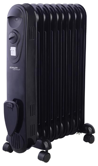 Масляный радиатор Scarlett SC 21.2009 SBОбогреватели<br><br><br>Тип: масляный радиатор<br>Максимальная мощность обогрева: 2000 Вт<br>Количество секций: 9<br>Отключение при перегреве: есть<br>Каминный эффект : есть<br>Управление: механическое<br>Регулировка температуры: есть<br>Термостат: есть<br>Выключатель со световым индикатором: есть<br>Отделение для шнура : есть