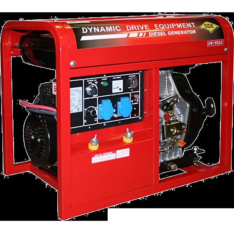Электрогенератор DDE DDW190AEЭлектрогенераторы<br>Cварочный генератор DDW190AE является единственным дизельным агрегатом серии PRO-WELDER. Агрегат соответствует всем требованиям международных стандартов и имеет все необходимые сертификаты.<br><br>Дизельная электростанция DDW190AE незаменима при ремонтно-монтажных работах, где необходима сварка по металлу, при отсутствии возможности подключения к электросети. Данная модель отличается возможностью легкой транспортировки и простотой конструкции.<br><br>Основные показатели<br><br>- Сварочный ток 180А<br>- Ном. мощность 2000Вт<br>- Коэф. мощности 1.0<br>- Электроды размерами 2-4 мм<br>- Ручной...<br><br>Тип электростанции: дизельная, сварочная<br>Тип запуска: ручной, электрический<br>Число фаз: 1 (220 вольт)<br>Объем двигателя: 418 куб.см<br>Мощность двигателя: 10 л.с.<br>Расход топлива: 2.1 л/ч<br>Объем бака: 11.5 л<br>Тип генератора: синхронный<br>Класс защиты генератора: IP23<br>Активная мощность, Вт: 2000