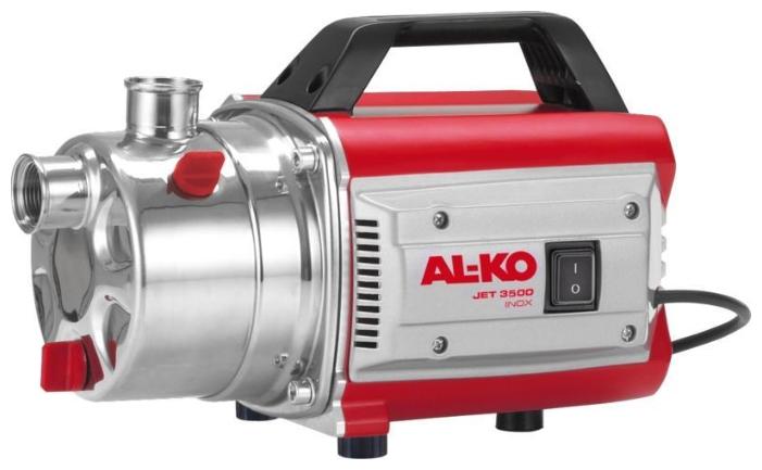 Насос AL-KO Jet 3500 Inox ClassicНасосы<br>Мощность, надежность, экономия электроэнергии. Простота ввода в эксплуатацию. Мощный и надежный. Крышка насоса из нержавеющей стали.<br><br>Глубина погружения: 8 м<br>Максимальный напор: 38 м<br>Пропускная способность: 3.4 куб. м/час<br>Напряжение сети: 220/230 В<br>Потребляемая мощность: 850 Вт<br>Качество воды: чистая<br>Установка насоса: горизонтальная