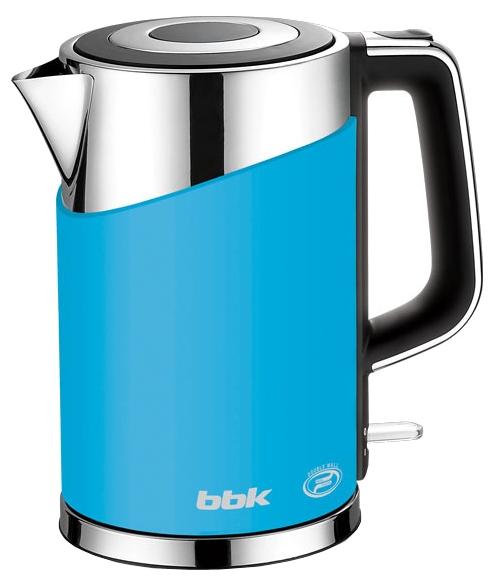Электрочайник BBK EK 1750 P BlueЧайники и термопоты<br>Современный электрический чайник EK1750P имеет мощность 2200 Вт и емкость 1,7 литра. Контроллер английской фирмы Otter обеспечивает бесперебойную и долговременную эксплуатацию устройства.<br><br>Особенностью модели являются двойные стенки колбы, за счет чего обеспечивается бесшумное закипание, безопасное прикосновение и долговременное сохранение высокой температуры воды.<br><br>Чайник установлен на удобной подставке с возможностью поворота на 360° и с отделением для хранения шнура.<br><br>Скрытый нагревательный элемент, удобный носик для наливания и шкала уровня...<br><br>Тип   : Электрочайник<br>Объем, л  : 1.7<br>Мощность, Вт  : 2200<br>Тип нагревательного элемента: Закрытая спираль<br>Покрытие нагревательного элемента  : Нержавеющая сталь<br>Материал корпуса  : металл/пластик<br>Индикатор уровня воды  : Есть<br>Отсек для хранения шнура: Есть
