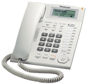 Проводной телефон Panasonic KX-TS2388RUWПроводные телефоны<br>Panasonic kx ts2388ruw для личных и рабочих моментов.<br> Проводной телефон Panasonic kx ts2388ruw белого цвета — отличный выбор для тех, кто хочет приобрести стильный аппарат для комфортного личного и рабочего общения.<br>Этот аппарат предлагает вам все важные и необходимые функции: органайзер, автоматический определитель номера и Caller ID, спикерфон, повторный набор номера, удержание линии, регулятор громкости и выключение микрофона. Иными словами, у вас будет все, что нужно для того, чтобы общаться было легко и удобно.<br>Вы уже прямо сейчас можете купить этот телефон в...<br><br>Тип: проводной телефон<br>Дисплей: есть<br>Органайзер: есть<br>АОН/Caller ID: есть/есть<br>Громкая связь (спикерфон): есть<br>Однокнопочный набор (количество кнопок): 20<br>Переадресация (Flash): нет<br>Повторный набор номера: есть<br>Тональный набор: есть<br>Блокировка набора номера: есть