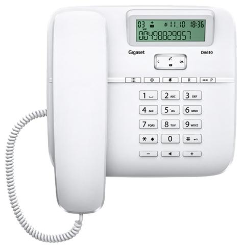 Проводной телефон Gigaset DA610 IM, WhiteПроводные телефоны<br>Gigaset da610 im, black: качественная и удобная связь.<br>Красивый и качественный телефон по доступной цене? Такой, который идеально подойдет как для офиса, так и для дома? Да, вы попали именно туда, куда нужно! Ведь в нашем интернет-магазине «Техномарт» есть именно такая модель: проводной телефон Gigaset da610 im, black!<br>Презентабельный элегантный внешний вид, безупречный дизайн, множество полезных встроенных функций: органайзер, автоматический определитель номера, телефонная книга, повторный набор, журнал номеров, спикерфон — такой телефон станет для вас надежным...<br><br>Тип: проводной телефон<br>Дисплей: есть<br>Органайзер: есть<br>Наборное поле на базе: есть<br>АОН/Caller ID: есть/есть<br>Журнал номеров: 5<br>Громкая связь (спикерфон): есть<br>Память (количество номеров): 50<br>Однокнопочный набор (количество кнопок): 10<br>Встроенная телефонная книга: есть