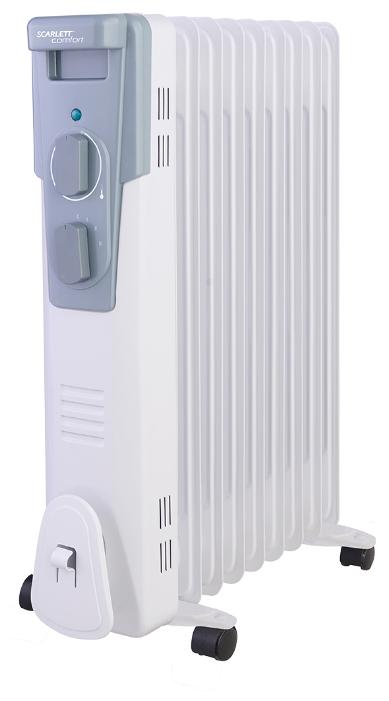 Масляный радиатор Scarlett SC 41.2009Обогреватели<br>- Классический типоразмер секций<br>- Высококачественный термостат на основе медного сплава<br>- Ступенчатое переключение мощности нагрева<br>- 9 секций<br>- Полноразмерная длина сетевого шнура<br>- Отсек для хранения шнура питания<br>- Простота установки – не требует монтажа<br>- Удобная ручка для перемещения<br>- Продуманная эргономика управления - максимальная простота управления нагревом<br><br>Тип: масляный радиатор<br>Максимальная мощность обогрева: 2000 Вт<br>Количество секций: 9<br>Каминный эффект : есть<br>Управление: механическое<br>Регулировка температуры: есть<br>Термостат: есть<br>Выключатель со световым индикатором: есть<br>Отделение для шнура : есть<br>Колеса для перемещения: есть