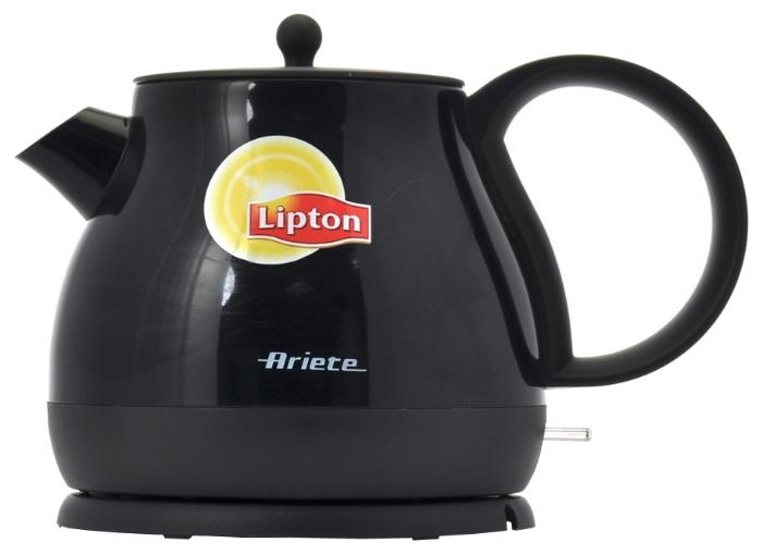 Электрочайник Ariete 2871 Lipton Metal BlackЧайники и термопоты<br>Чайник Ariete 2871 Lipton Metal Black – прибор, который будет кстати на любой кухне. Корпус чайника сделан из металла, поэтому он долговечен, даже спустя годы будет выглядет так, будто вы только что его купили. Благодаря закрытой спирали чайник легко мыть и очищать от накипи, кроме того, нагревательный элемент покрыт нержавеющей сталью – разработчики продумали каждую деталь. Чайник удобен как для правшей, так и для левшей – база устройства позволяет ему вращаться. Чайник вмещает 0,8 литра, что не так уж и мало.<br><br>Купить чайник Ariete 2871 – сделать правильный выбор....<br><br>Тип   : Электрочайник<br>Объем, л  : 0.8<br>Мощность, Вт  : 1190<br>Тип нагревательного элемента: Закрытая спираль<br>Покрытие нагревательного элемента  : Нержавеющая сталь<br>Материал корпуса  : металл<br>Вращение на 360 градусов  : Есть<br>Автоотключение при закипании  : Есть<br>Индикация включения  : Есть<br>Индикатор уровня воды  : Есть
