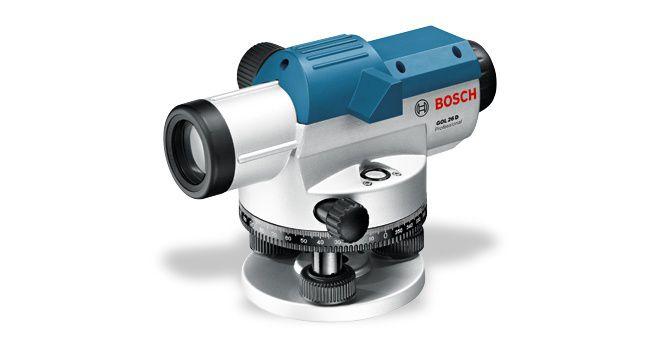 Оптический нивелир Bosch GOL 26D [0601068000]Измерительные инструменты<br>Исключительная прочность — идеальный вариант для работ вне помещений<br>- Разработаны специально для использования вне помещений — оснащены прочным металлическим корпусом с защитой от пыли и водяных брызг &amp;#40;IP 54&amp;#41;<br>- Прочное исполнение со встроенным визиром и сферическим уровнем<br>- Надежность транспортировки благодаря фиксатору для компенсатора<br>- Визир для грубого выравнивания<br>- Пентапризма для удобного контроля за сферическим уровнем<br>- Большая кнопка фокусировки для простого выравнивания<br>- Светосильный объектив для четкого прицеливания измерительной...<br>