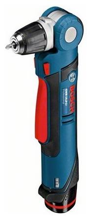 Угловая дрель-шуруповерт Bosch GWB 10,8-LI 0 (без аккумулятора и зарядного устройства) [0601390905]Дрели, шуруповерты, гайковерты<br>Компактный инструмент для работы в труднодоступных местах<br><br>Потребительские преимущества<br><br>- Исключительная универсальность применения благодаря 5 регулируемым положениям головки: 0°/22,5°/45°/67,5°/90°<br>- Очень компактный: самый короткий &amp;#40;всего 11 см&amp;#41; регулируемый корпус со сверлильным патроном Auto-Lock 10 мм<br>- Высокая частота вращения в диапазоне от 0 до 1300 об/мин для максимальной производительности работы — оптимально для сверления<br><br>Дополнительные преимущества<br><br>- Функция тормоза двигателя для точной работы при серийном заворачивании шурупов<br>- Удобный...<br><br>Тип: угловая дрель-шуруповерт<br>Тип инструмента: угловой<br>Тип патрона: быстрозажимной<br>Количество скоростей работы: 1<br>Питание: от аккумулятора<br>Тормоз двигателя: есть<br>Возможности: реверс, фиксация шпинделя, электронная регулировка частоты вращения