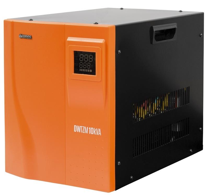 Стабилизатор напряжения Daewoo DW-TZM10kVAСтабилизаторы напряжения<br>- Диапазон работы от 140 до 270В<br>- Многофункциональный цветной дисплей<br>- Управление на основе микропроцессора<br>- Медная катушка автотрансформатора<br>- Управляющие реле гарантируют высокую точность<br>- Задержка включения гарантирует защиту оборудования<br>- Принудительная система охлаждения<br>- 6 степеней защиты<br>- Режим БАЙПАС<br><br>Тип: стабилизатор напряжения