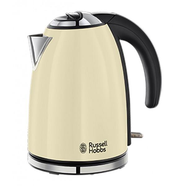 Электрочайник Russell Hobbs 18943-70 Colours Classic CreamЧайники и термопоты<br>Чайник Classic Cream - воплощение классики на вашей кухне. Стильный, изящный чайник, выполненный в лакированном корпусе кремового цвета с полированными акцентами и тиснением логотипа Russell Hobbs безусловно добавит современную элегантность на вашу кухню.<br><br>Объем 1.7 литра, приготовление до шести чашек, этого будет достаточно для всей семьи или офисной кухни. Поворотное основание 360° будет комфортным для пользования чайником левой или правой рукой. Встроенный отсек для хранения шнура избавит от лишних проводов и будет удобен при хранении чайника.<br><br>Тип   : Электрочайник<br>Объем, л  : 1.7<br>Мощность, Вт  : 2200<br>Тип нагревательного элемента: Закрытая спираль<br>Материал корпуса  : металл<br>Вращение на 360 градусов  : Есть<br>Индикация включения  : Есть<br>Индикатор уровня воды  : Есть<br>Блокировка крышки  : Есть<br>Фильтр  : Есть