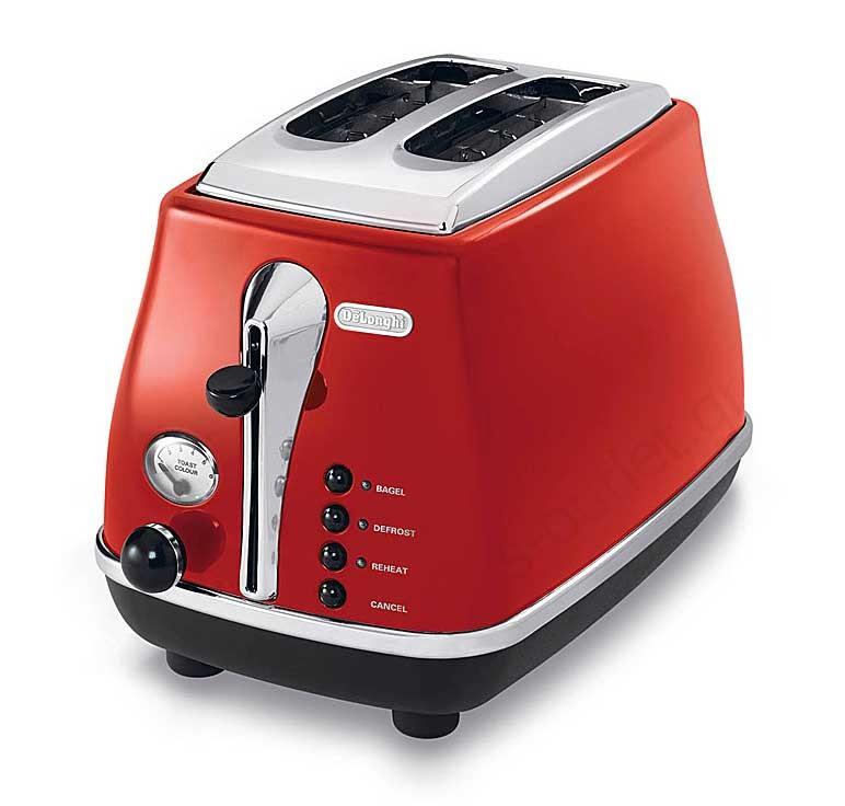 Тостер DeLonghi CTO 2003 RedТостеры и минипечи<br><br><br>Тип: тостер<br>Тип управления: Механическое<br>Мощность гриля, Вт: 900<br>Количество отделений: 2<br>Количество тостов: 2