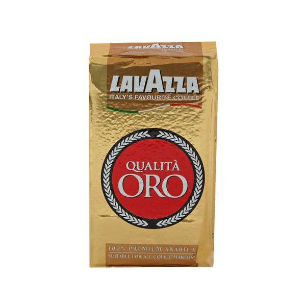 Кофе молотый Lavazza Oro 250 гКофе, какао<br>Lavazza Oro — кофе, рождающий фантазию.<br>Что получится, если смешать лучшие сорта арабики, привезенной и далекой Центральной и Южной Америки? Правильно, получится вкусный молотый кофе Lavazza Oro, достойный лучших итальянских кофеен!<br>Сладковатый вкус с чуть заметной благородной кислинкой, узнаваемый вкусный аромат, идеальный помол: этот кофе так и ждет поскорее быть приготовленным в вашей турке или кофеварке!<br>Сбалансированный вкус, средняя обжарка зерен, вакуумная упаковка, надолго сохраняющая уникальность вкуса и аромата — у такого кофе есть все, ...<br><br>Тип: кофе молотый<br>Обжарка кофе: средняя<br>Кофеин: С кофеином<br>Состав: 100% Арабика<br>Дополнительно: 100% Арабика. Упаковка вакуумная