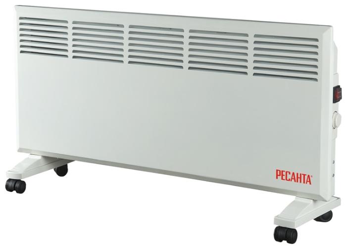 Конвектор Ресанта ОК-2000Обогреватели<br><br><br>Тип: конвектор<br>Максимальная мощность обогрева: 2000 Вт<br>Отключение при перегреве: есть<br>Влагозащитный корпус: есть<br>Управление: механическое<br>Регулировка температуры: есть<br>Термостат: есть<br>Выключатель со световым индикатором: есть<br>Напольная установка: есть<br>Колеса для перемещения: есть