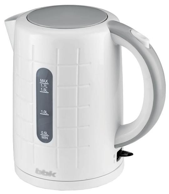 Электрочайник BBK EK 1703 P White/MetalЧайники и термопоты<br>Новый электрический чайник из термостойкого экологически чистого пластика, мощностью 2200 Bт и емкостью 1,7 литра - это не просто стильный, но и многофункциональный прибор для вашей кухни.<br><br>Благодаря английскому контроллеру, установленному в приборе, чайник прослужит в 5 раз дольше обычного, обеспечивая до 15000 закипаний. Модель оснащена многоуровневой защитой: автоматическое отключение при закипании, отключение при недостаточном количестве воды&amp;nbsp;&amp;nbsp;и отключение при снятии чайника с базы.<br><br>Прибор установлен на удобную подставку с возможностью...<br><br>Тип   : Электрочайник<br>Объем, л  : 1.7<br>Мощность, Вт  : 2200<br>Тип нагревательного элемента: Закрытая спираль<br>Материал корпуса  : пластик<br>Подсветка  : Есть<br>Индикатор уровня воды  : Есть<br>Блокировка включения без воды  : Есть<br>Фильтр  : Есть