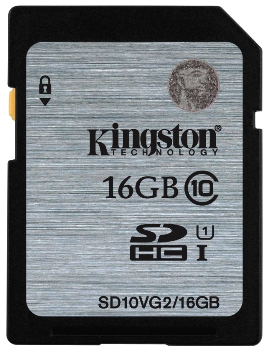 Карта памяти Kingston Class10 UHS-I / SD10VG2-16GBКарты памяти<br><br><br>Тип: Карта памяти<br>Тип карты памяти: Secure Digital HC<br>Объем памяти: 16 Гб<br>Класс скорости: Class10