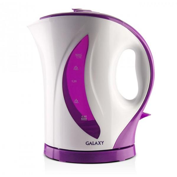 Электрочайник Galaxy GL 0107 PurpleЧайники и термопоты<br>Техника для приготовления горячих напитков Galaxy отвечает всем современным требованиям надежности и безопасности.<br><br>При ее производстве используются только высококачественные и экологически безопасные материалы, а также нагревательные элементы и контроллеры высокого класса надежности.<br><br>Среди разнообразия моделей каждая будет служить Вам долгие годы, наполняя Ваш быт комфортом.<br><br>Тип   : Электрочайник<br>Объем, л  : 1.7<br>Мощность, Вт  : 2200<br>Тип нагревательного элемента: Открытая спираль<br>Материал корпуса  : пластик<br>Индикация включения  : Есть<br>Индикатор уровня воды  : Есть<br>Блокировка включения без воды  : Есть<br>Фильтр  : Есть