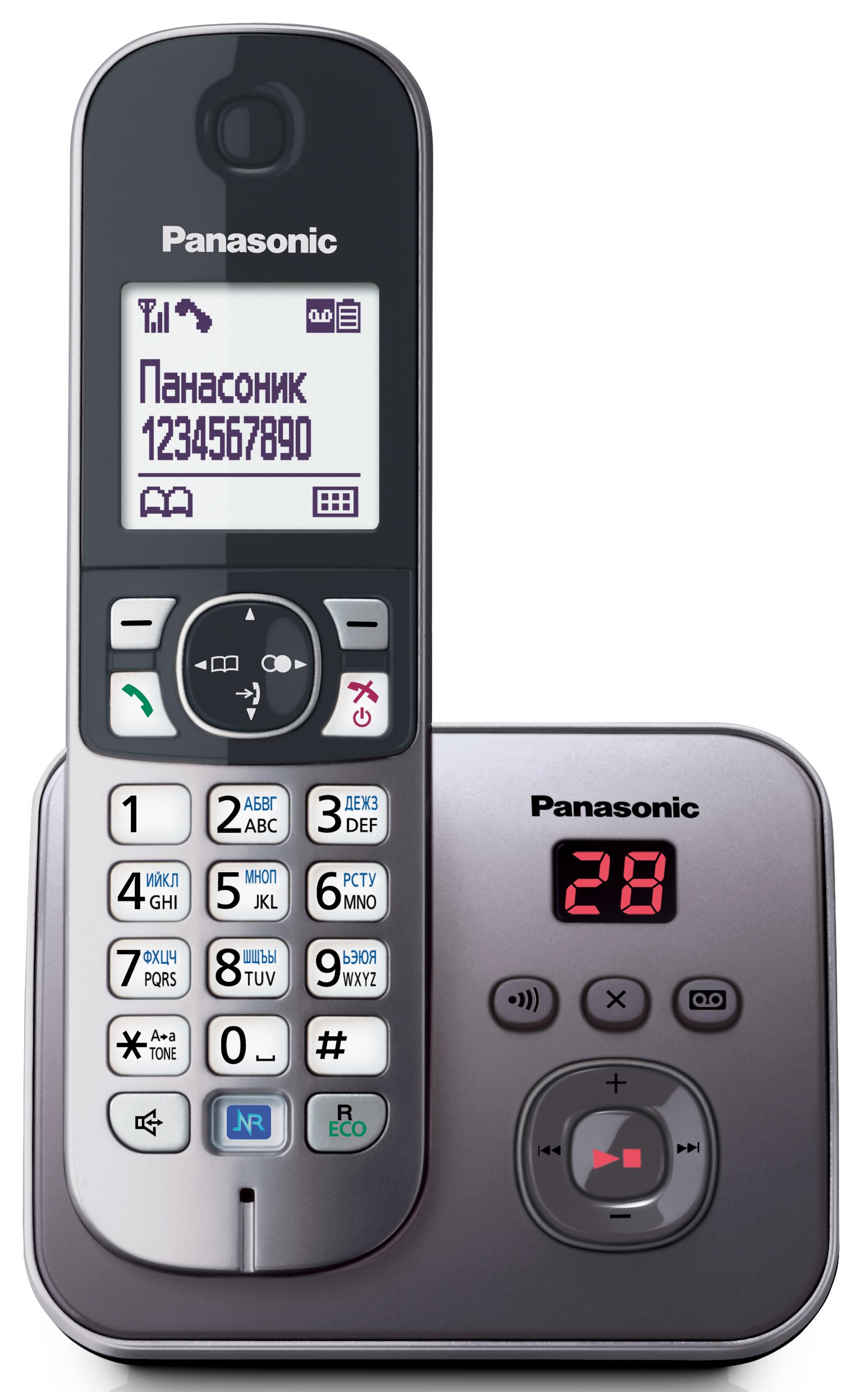Радиотелефон Panasonic KX-TG6821RUMРадиотелефон Dect<br>Panasonic kx tg6821rum: больше стиля, больше функций!<br>Радиотелефон Panasonic kx tg6821rum способен работать без дополнительной зарядки от базы до 15 часов, и это — в режиме разговора! В режиме ожидания он работает еще в несколько раз больше — до 170 часов! Только представьте, это же целая неделя!<br>Кроме удивительно высокой работоспособности такая модель обладает еще и очень широким и, что тоже важно, полезным функционалом. Цифровой автоответчик, возможность записи разговора на 30 минут, АОН и Caller ID, спикерфон, интерком, конференцсвязь, встроенная телефонная книга на...<br><br>Тип: Радиотелефон<br>Количество трубок: 1<br>Рабочая частота: 1880-1900 МГц<br>Стандарт: DECT/GAP<br>Возможность набора на базе: Нет<br>Проводная трубка на базе : Нет<br>Время работы трубки (режим разг. / режим ожид.): 15 / 170 ч<br>Дисплей: на трубке, 2 строки<br>Подсветка кнопок на трубке: Есть<br>Журнал номеров: 50