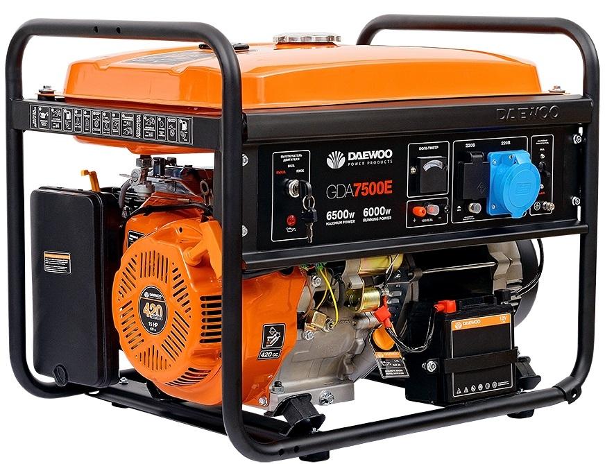 Электрогенератор Daewoo GDA 7500EЭлектрогенераторы<br>- Профессиональный Двигатель DAEWOO<br>- Быстрый Запуск<br>- Вольтметр<br>- AVR &amp;#40;Automatic Voltage Regulator&amp;#41;<br>- Умная Защита от Перегрузок<br>- Запуск от Ключа<br>- Датчик Уровня Масла<br>- Низкий Уровень Шума<br>- Прочная Рама<br>- Металлический Топливный Бак<br>- Гарантия Daewoo<br>- 100% Медный альтернатор<br>- Транспортный комплект<br>- Встроенное зарядное устройство<br><br>Тип электростанции: бензиновая<br>Тип запуска: ручной, электрический<br>Объем двигателя: 420 см3<br>Мощность двигателя: 15 л.с.<br>Тип охлаждения: воздушное<br>Объем бака: 25 л<br>Активная мощность, Вт: 6000
