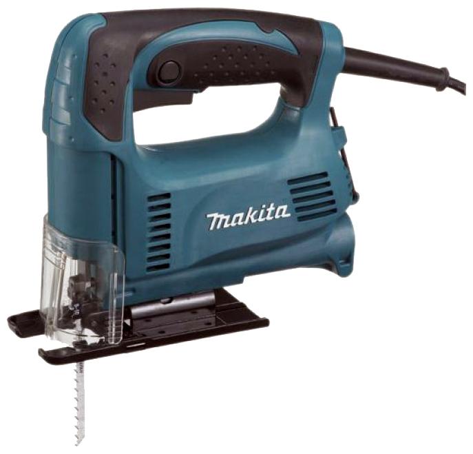 Лобзик Makita 4326Лобзики электрические<br><br><br>Потребляемая мощность: 450 Вт<br>Частота движения пилки: 3100 ходов/мин<br>Длина хода: 18 мм<br>Глубина пропила дерева: 65 мм<br>Глубина пропила стали: 6 мм<br>Рукоятка: скобовидная, обрезиненная<br>Работа от аккумулятора: нет