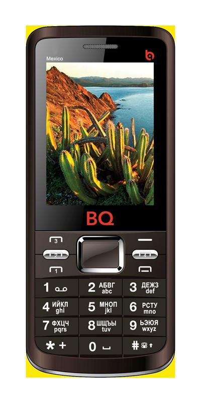 Мобильный телефон BQ BQM-2408 Mexico BrownМобильные телефоны<br><br><br>Тип: Мобильный телефон<br>Стандарт: GSM 900/1800<br>Тип трубки: классический<br>Поддержка четырех SIM-карт: есть<br>Встроенная память: 32 Мб<br>Фотокамера: 0.30 млн пикс<br>Форматы проигрывателя: MP3<br>Разъем для наушников: 3.5 мм