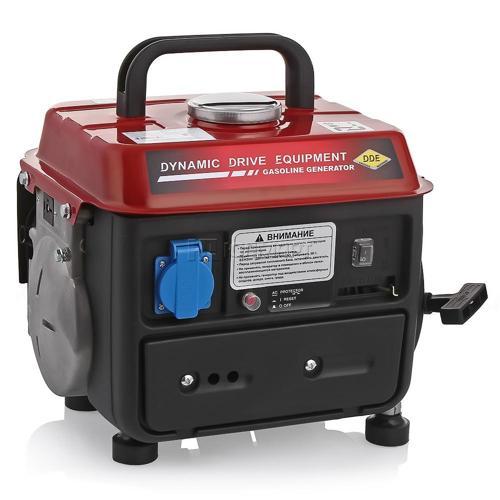 Электрогенератор DDE GG950ZЭлектрогенераторы<br><br><br>Тип электростанции: бензиновая<br>Тип запуска: ручной<br>Число фаз: 1<br>Объем бака: 4.2 л<br>Активная мощность, Вт: 650
