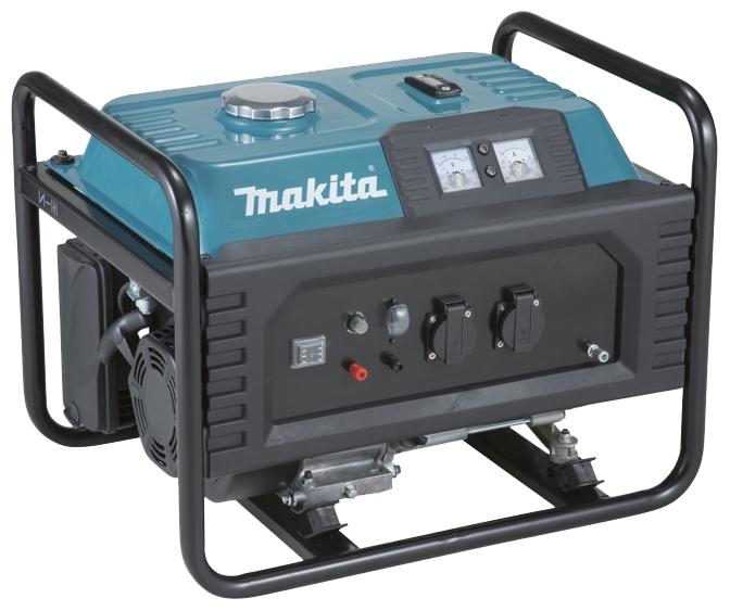 Генератор Makita EG 2250AЭлектрогенераторы<br>Бензогенератор Makita EG 2250A представляет собой надежное удобное в практическом использовании устройство, предназначенное для получения электроэнергии в условиях, в которых доступ к сети отсутствует. Характеристики данной модели делают ее привлекательной для многих людей, применяющих подобную технику как периодически, так и на регулярной основе. Что касается покупки, то в интернет-магазине заказать эту электростанцию крайне легко. Чтобы получить ее в свое распоряжение достаточно нескольких самых простых движений. Цена агрегата сравнительно...<br><br>Тип электростанции: бензиновая<br>Тип запуска: ручной<br>Число фаз: 1 (220 вольт)<br>Объем двигателя: 210 куб.см<br>Тип охлаждения: воздушное<br>Объем бака: 15 л<br>Активная мощность, Вт: 2000<br>Защита от перегрузок: есть