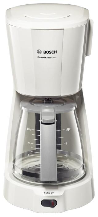 Кофеварка Bosch TKA 3A031Кофеварки и кофемашины<br><br><br>Тип : капельная кофеварка<br>Мощность, Вт: 1100<br>Объем, л: 1.25<br>Материал корпуса  : Пластик<br>Плита автоподогрева: Есть<br>Съемный лоток для сбора капель  : Нет