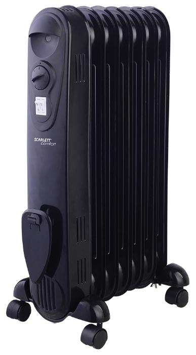 Масляный радиатор Scarlett SC 21.1507 SBОбогреватели<br><br><br>Тип: масляный радиатор<br>Максимальная мощность обогрева: 1500 Вт<br>Количество секций: 7<br>Отключение при перегреве: есть<br>Каминный эффект : есть<br>Управление: механическое<br>Регулировка температуры: есть<br>Термостат: есть<br>Выключатель со световым индикатором: есть<br>Отделение для шнура : есть