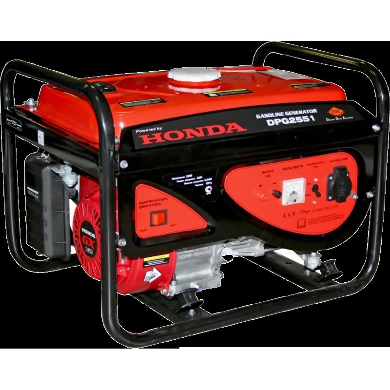 Электрогенератор DDE DPG2551Электрогенераторы<br>Нужен в меру компактный, мощный и надежный источник электропитания, тогда вам подойдет генератор бензиновый DDE DPG2551 с двигателем от компании Honda. Данная станция не блещет выдающимися эксплуатационными характеристиками, однако их вполне достаточно для питания небольшого загородного дома и всех его электроприборов: холодильник, телевизор, компьютер и т.д. <br><br>Заполнив бак полностью, генератор бензиновый DDE DPG2551 будет питать вашу домашнюю сеть до 10 часов. В случае возможных сбоев или перегрузок, сработает встроенная защита класса IP23. За стабильной...<br><br>Тип электростанции: бензиновая<br>Тип запуска: ручной<br>Число фаз: 1 (220 вольт)<br>Объем двигателя: 163 куб.см<br>Мощность двигателя: 5.5 л.с.<br>Тип охлаждения: воздушное<br>Объем бака: 15 л<br>Класс защиты генератора: IP23<br>Активная мощность, Вт: 2000<br>Защита от перегрузок: есть