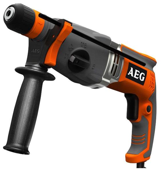 """Перфоратор AEG 428190 KH 28 Super XEПерфораторы<br>- Мощный 1010Вт двигатель<br>- 28 мм максимальный диаметр сверления в бетоне<br>- Функция отключения вращения Roto-stop для выполнения легких работ по долблению<br>- Режим """"мягкого"""" удара позволяет уменьшать энергию удара и скорость сверления / долбления для работы с хрупкими материалами<br>- Fixtec для быстрой замены принадлежностей<br>- Предохранительная муфта защищает пользователя и инструмент<br>- Электронная регулировка скорости<br>- Функция отключения удара для сверления в дереве или металле<br>- Рукоятка с эластичным покрытием Soft Grip для комфорта<br>- Защита от перегрузки...<br><br>Тип крепления бура: SDS-Plus<br>Потребляемая мощность: 1100 Вт<br>Макс. энергия удара: 2.8 Дж<br>Макс. диаметр сверления (дерево): 30 мм<br>Макс. диаметр сверления (металл): 13 мм<br>Макс. диаметр сверления (бетон): 28 мм<br>Питание: от сети<br>Возможности: реверс, предохранительная муфта, фиксация шпинделя, электронная регулировка частоты вращения<br>Описание: длина сетевого кабеля 4 м"""