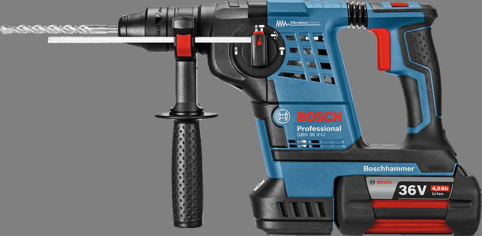 Перфоратор Bosch GBH 36 V-LI Plus  [0611906002]Перфораторы<br>- Система Vibration Control для неутомительной работы<br>- Светодиодная рабочая подсветка для оптимального обзора рабочей зоны<br>- Сверление до 240 отверстий в бетоне &amp;#40;? 6 x 40 мм&amp;#41; на одной зарядке аккумулятора<br>- 3 функции: сверление без удара, ударное сверление, долбление<br>- Инновационные аккумуляторы CoolPack обеспечивают оптимальный отвод тепла и тем самым увеличивают срок службы на 100 % &amp;#40;ср. литий-ионные аккумуляторы без CoolPack&amp;#41;<br>- Bosch Electronic Cell Protection &amp;#40;ECP&amp;#41;: система защиты аккумулятора от перегрузки, перегрева и глубокого разряда<br>- Исключительно быстрая зарядка:...<br><br>Тип крепления бура: SDS-Plus<br>Потребляемая мощность: 36 W<br>Макс. энергия удара: 3,2 Дж<br>Макс. диаметр сверления (дерево): 30 мм<br>Макс. диаметр сверления (металл): 13 мм<br>Емкость аккумулятора: 4 А•ч<br>Напряжение аккумулятора: 36 В