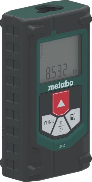 Лазерный дальномер Metabo LD 60 [606163000]Измерительные инструменты<br>Комплект поставки:<br>- Лазерный дальномер Metabo LD 60<br>- чехол для хранения с возможностью закрепить прибор на поясе - вы сможете проводить замеры на высоте<br>- 2 батарейки AA 1,5 V &amp;#40;LR6&amp;#41;<br>- упаковка из картона.<br> <br>Особенности модели:<br>- ударопрочный корпус<br>- компактное и легкое изделие<br>- простота и интуитивная понятность в использовании<br>- для высокоточного замера длины, площади и объема помещений и для относительного измерения высот<br>- ЖК-дисплей с подсвеченным экраном для работы в условиях плохой освещенности<br>- Автоотключение в режиме standbay, когда прибор...<br><br>Тип: Лазерный дальномер<br>Класс лазера: 2<br>Аккумулятор: 2 батарейки AA 1,5 V (LR6)<br>Описание: точность ±1,5 мм/м. Защита от влаги IP40. Время работ от одного комплекта батарей 5000 измерений