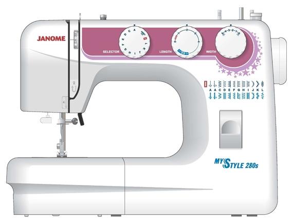 Швейная машинка Janome My Style 280sШвейные машины<br><br><br>Тип: электромеханическая<br>Тип челнока: качающийся<br>Количество швейных операций: 24<br>Выполнение петли: полуавтомат<br>Число петель: 1<br>Максимальная длина стежка: 4 мм<br>Максимальная ширина стежка: 5.0 мм<br>Потайная строчка : есть<br>Эластичная строчка : есть<br>Кнопка реверса: есть