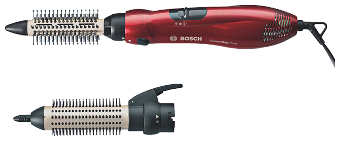 Фен-щетка Bosch PHA 2302Фены и щипцы<br><br><br>Тип: Фен-щетка<br>Мощность, Вт: 700<br>Подача холодного воздуха: Есть<br>Насадки в комплекте: щетка, щипцы для завивки<br>Керамическое покрытие насадок: Есть<br>Петля для подвешивания: Есть<br>Количество режимов: 3<br>Защита от перегрева: Есть<br>Вращение шнура: Есть