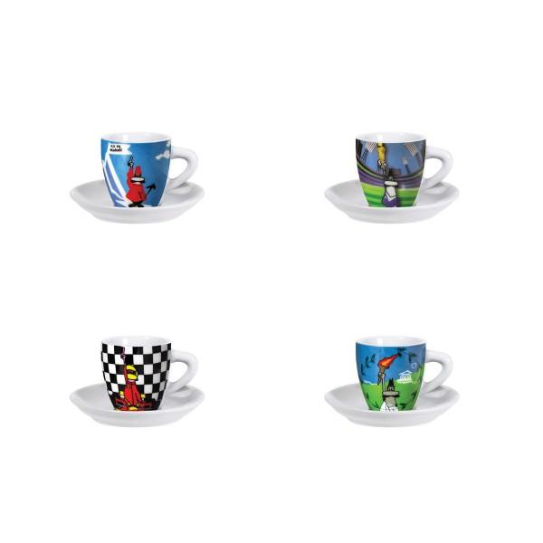 Набор чашек Bialetti Sports 283Аксессуары для кофемашин<br>Набор чашек Bialetti Sports 283 выполнен из фарфора, состоит из 4 чашек и 4 блюдец. Изящный дизайн и красочность оформления придутся по вкусу и ценителям классики, и тем, кто предпочитает утонченность и изысканность. Чайный набор - идеальный и необходимый подарок для вашего дома и для ваших друзей в праздники, юбилеи и торжества! Он также станет отличным корпоративным подарком и украшением любой кухни.<br><br>Тип: набор чашек<br>Описание: объем 100 мл. Материал - фарфор