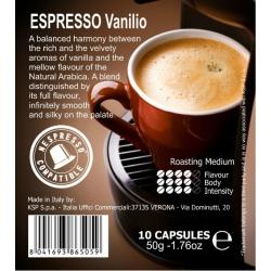 Кофе в капсулах Espresso Vanilio 10 кап.Кофе, какао<br> <br>  <br> <br><br>Тип: кофе в капсулах<br>Обжарка кофе: средняя<br>Дополнительно: cовместимо c Nespresso