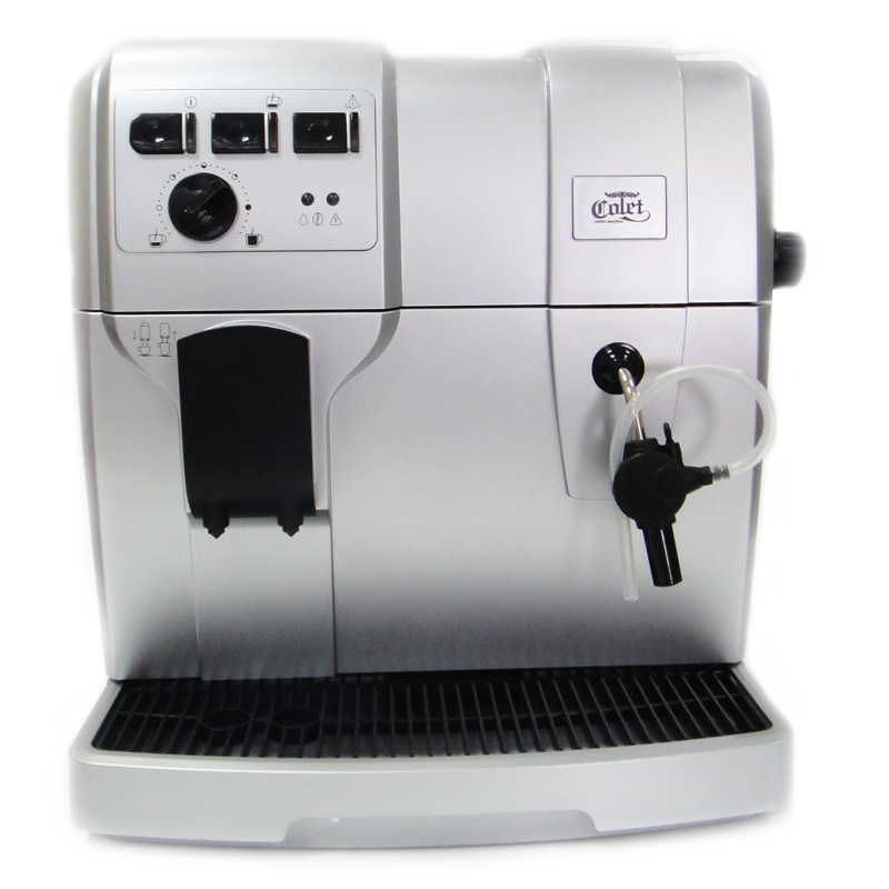 Кофемашина Colet Q004Кофеварки и кофемашины<br>Впечатляющая кофеварка Colet Q004.<br>Любите вкусный натуральный кофе, но не хотите тратить много денег на автоматическую кофеварку? Есть отличный и очень бюджетный вариант — кофемашина Colet Q004. Несмотря на свою очень демократичную цену, эта кофемашина в своем арсенале имеет весь необходимый набор функций и возможностей.<br>Смотрите сами: встроенная кофемолка, регулировка порций горячей воды, контроль крепости кофе, автоматическое приготовление эспрессо и капучино, регулировка степени помола, противокапельная система. Полный перечень всего функционала...<br><br>Тип : зерновая кофемашина<br>Тип используемого кофе: Зерновой<br>Мощность, Вт: 1300<br>Объем, л: 1.7<br>Давление помпы, бар  : 15<br>Материал корпуса  : Пластик<br>Плита автоподогрева: Есть<br>Встроенная кофемолка: Есть<br>Емкость контейнера для зерен, г  : 300<br>Одновременное приготовление двух чашек  : Есть