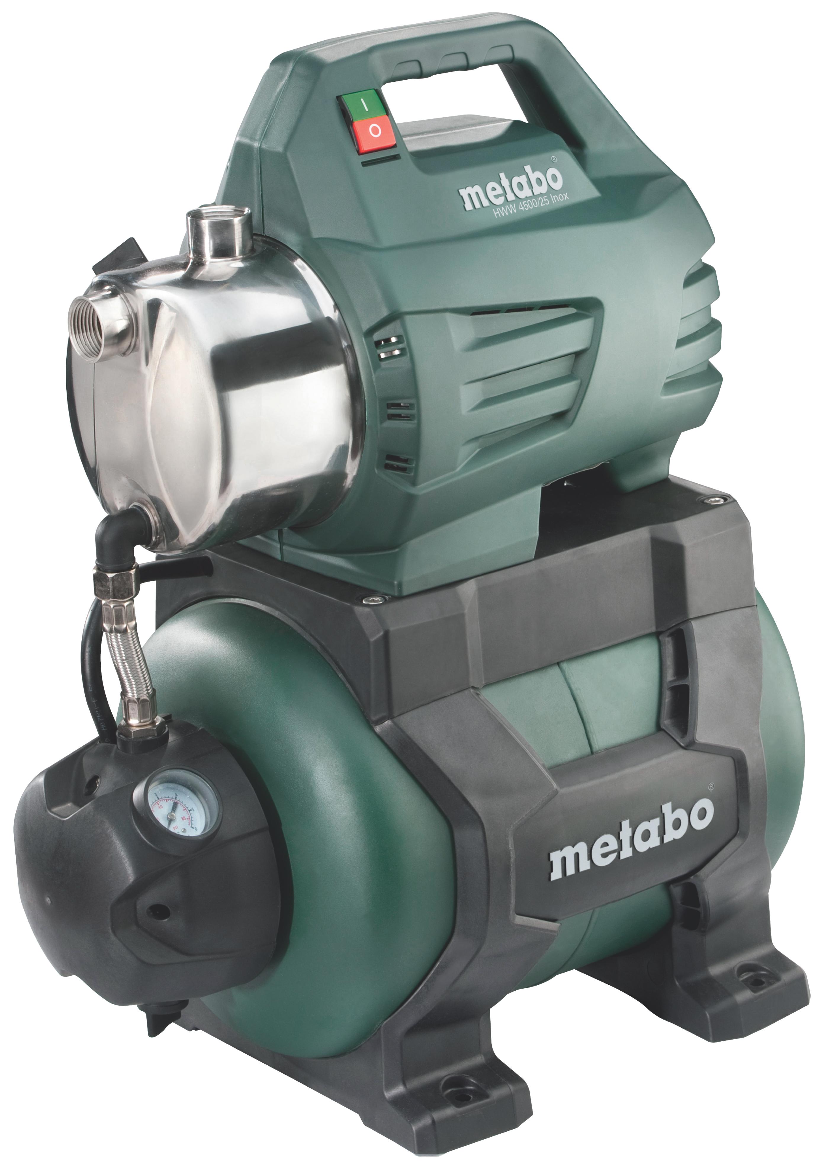 Насос Metabo HWW 4500/25 Inox [600972000]Насосы<br>Комплект поставки:<br>- Metabo HWW 4500/25 Inox<br>- Обратный клапан<br>- Гидроаккумулятор<br>- Манометр<br>- Уплотнительная лента для резьбы<br><br>Особенности модели:<br>- Удобство переноски - Ручка обеспечивает удобство транспортировки насосной станции Metabo HWW 4500/25 Inox.<br>- Точная работа - Манометр позволяет контролировать давление во время работы.<br>- Устойчивость - Насосную станцию можно закрепить с помощью шурупов для устойчивого положения во время работы.<br><br>Преимущества:<br>- Аппарат для автоматического водоснабжения, ирригации садовых участков с помощью 1 или 3 дождевальных установок...<br><br>Потребляемая мощность: 1300 Вт