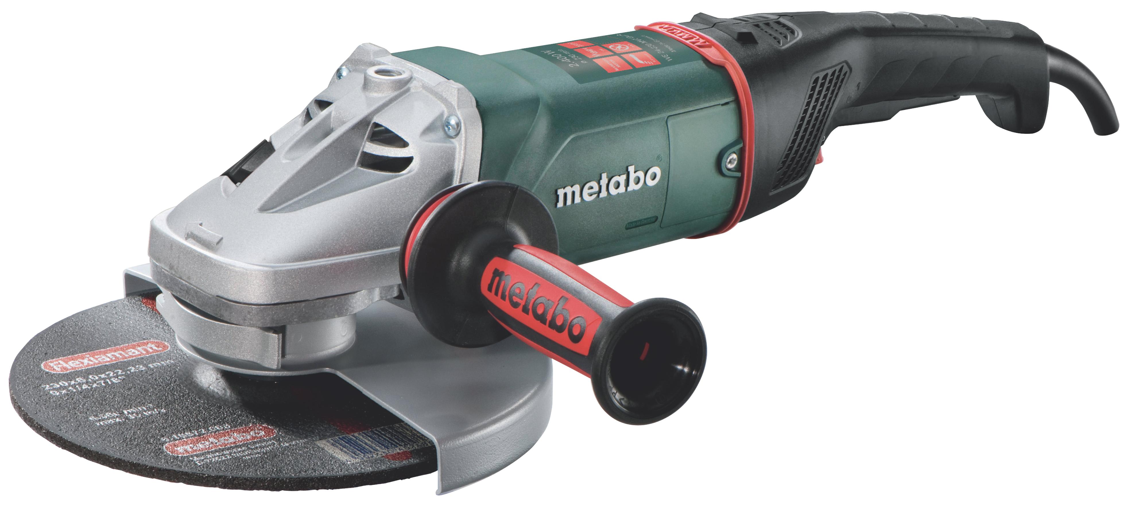 Угловая шлифмашина Metabo WEA 24-230 MVT Quick [606472000]Шлифовальные и заточные машины<br>Комплект поставки:<br>- Metabo WEA 24-230 MVT Quick<br>- защитный кожух<br>- антивибрационная боковая рукоятка<br>- ключ<br>- картонная коробка<br> <br>Особенности модели:<br>- Долговечность - Корпус редуктора угловой шлифмашины Metabo WE 24-230 MVT Quick выполнен из алюминиевого литья под давлением. Это обеспечивает быстрый теплоотвод при работе и увеличивает срок службы.<br>- Удобство - Возможность изменения положения защитного кожуха без использования ключа делает работу с инструментом удобной.<br>- Низкий уровень вибрации -&amp;nbsp;&amp;nbsp;Трехпозиционная&amp;nbsp;&amp;nbsp;дополнительная рукоятка с антивибрационной...<br>