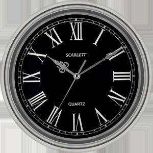 Часы настенные Scarlet SC-27DЧасы<br><br><br>Тип: часы настенные<br>Форма: круг<br>Тип хода секундной стрелки: плавный<br>Описание: период работы от одного элемента: 12 месяцев. Элемент питания: тип АА 1.5V. Материал корпуса - металл