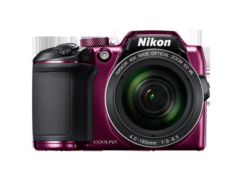 Цифровой фотоаппарат Nikon Coolpix B500 PurpleЦифровые фотоаппараты<br>Nikon Coolpix B500 — легкость получения изображений самого высокого качества.<br>Объектив NIKKOR с мощным 40-кратным оптическим зумом, расширяемым до 80-кратного с помощью функции Dynamic Fine Zoom, перенесет вас в эпицентр событий, а боковой рычажок зуммирования обеспечит дополнительную устойчивость. Вы сможете выбрать уникальный ракурс с помощью наклонного ЖК-монитора высокой четкости, с легкостью повторно поймать объект в кадр, воспользовавшись кнопкой возврата зуммирования, и поддерживать соединение фотокамеры с интеллектуальным устройством благодаря приложению...<br><br>Тип: Цифровой Фотоаппарат<br>Оптическое увеличение: 12<br>Стабилизатор изображения: Оптический<br>Носители информации: micro SD, micro SDHC, micro SDXC<br>Видеорежим: Есть<br>Звук в видеоклипе: Есть<br>Вспышка: Есть<br>Цвет: Фиолетовый<br>Кроп фактор: 5.62<br>Тип матрицы: CCD