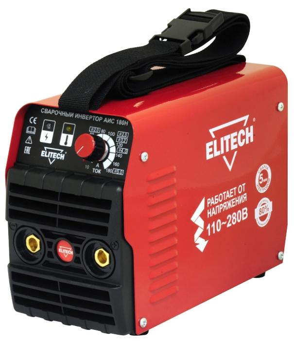 Сварочный аппарат Elitech АИС 180НСварочные аппараты<br>ELITECH АИС 180Н - предназначен для сварки стали &amp;#40;углеродистой и нержавеющей&amp;#41; на постоянном токе методом ручной дуговой сварки &amp;#40;ММА&amp;#41; штучным электродом с флюсовым покрытием, а также методом аргонно-дуговой сварки &amp;#40;TIG&amp;#41; неплавящимся фольфрамовым электродом в среде инертного защитного газа &amp;#40;аргона&amp;#41;.<br><br>Тип: сварочный инвертор<br>Сварочный ток (MMA): 10-180 А<br>Напряжение на входе: 110-275 В<br>Количество фаз питания: 1<br>Напряжение холостого хода: 74 В<br>Тип выходного тока: постоянный<br>Мощность, кВт: 5.30<br>Продолжительность включения при максимальном токе: 80 %<br>Класс изоляции: H<br>Степень защиты: IP21