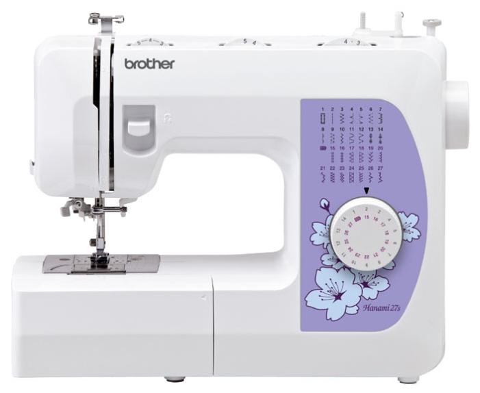 Швейная машина Brother Hanami 27SШвейные машины<br><br><br>Тип: электромеханическая<br>Количество швейных операций: 27<br>Выполнение петли: автомат<br>Потайная строчка : есть<br>Эластичная строчка : есть<br>Эластичная потайная строчка: есть<br>Кнопка реверса: есть<br>Рукавная платформа: есть<br>Нитевдеватель: есть